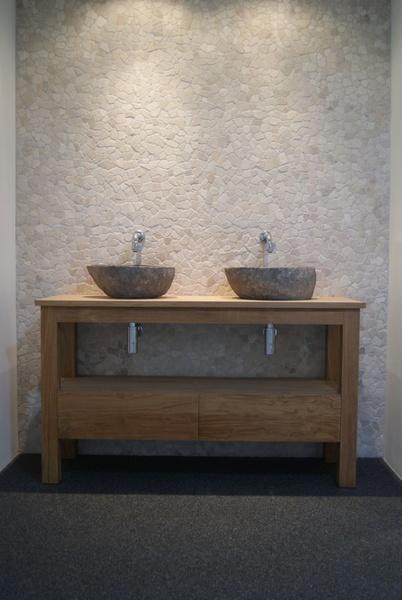 Wasbak waskom riverstone riviersteen natuursteen badkamer - Someren ...